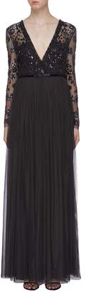 Needle & Thread 'Ava' sequin floral mock wrap tulle maxi dress