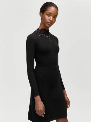 7e197b3f Warehouse Lace High Neck Fit And Flare Knitted Dress