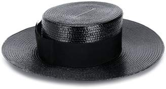 Saint Laurent small straw boater hat