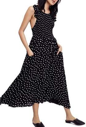 Free People Smocked Polka-Dot Dress
