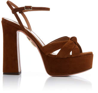 Aquazzura Baba Knotted Suede Platform Sandals