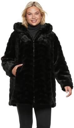 Gallery Plus Size Hooded Faux-Fur Jacket