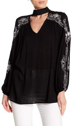 Blend of America Haute Rogue Embellished Linen Choker Neck Top