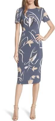 Diane von Furstenberg Print Body-Con Midi Dress