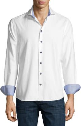 Neiman Marcus Diamond-Jacquard Sport Shirt