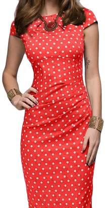 MOUTEN Women Polka Dot Print Slim Fit Short Sleeve OL Bodycon Midi Pencil Dress M