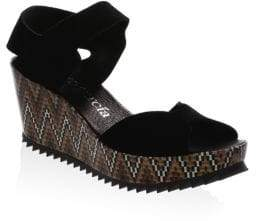 Pedro Garcia Fah Leather Platform Wedge Sandals