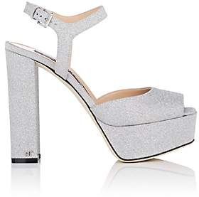 Sergio Rossi Women's Glitter Platform Sandals - Silver