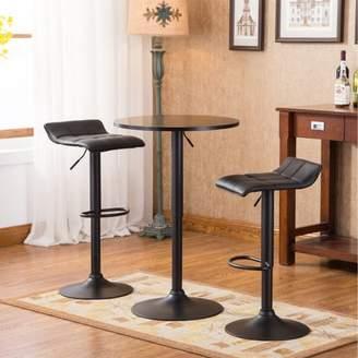 Roundhill Furniture Belham Black Round Top Adjustable Height Bar Table and 2 Swivel Black Bonded Leather Adjustable Bar Stool Bar Sets