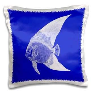 3dRose Dark Blue tropical fish print. Exotic modern sea ocean aquatic biology - Pillow Case, 16 by 16-inch