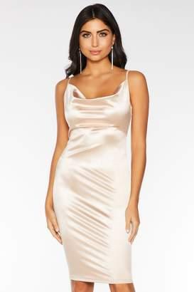 Quiz Champagne Cowl Neck Bodycon Midi Dress