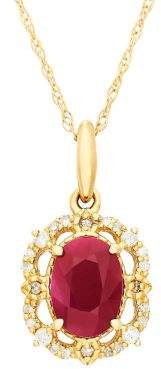 Lord & Taylor Diamond, Ruby and 14K Yellow Gold Pendant Necklace