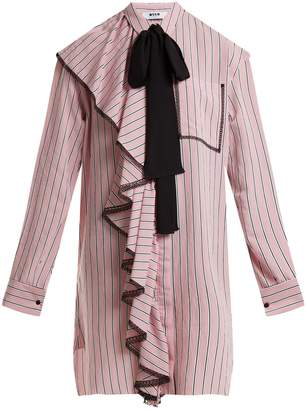 MSGM Ruffle-trimmed striped dress
