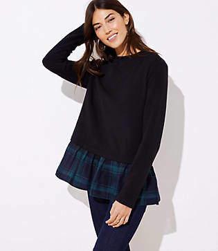 LOFT Petite Plaid Flounce Sweatshirt
