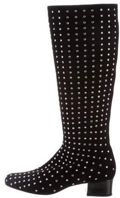 Saint Laurent Suede Embellished Boots