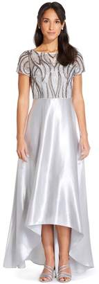 Adrianna Papell Womens Grey Embroidery Satin High Low Gown Dress - Grey
