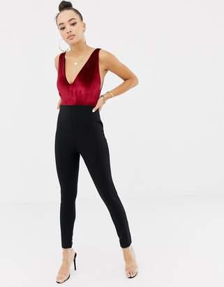 Missguided velvet plunge tailored jumpsuit in multi