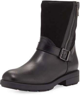 Aquatalia Laura Mixed Leather Zip Boot, Black