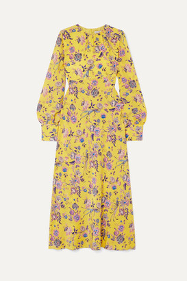 Les Rêveries Floral-print Silk Crepe De Chine Dress - Yellow