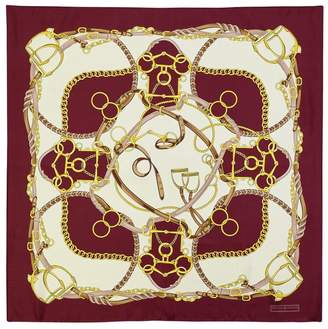 Aspinal of London Horseshoe Silk Scarf In Burgundy