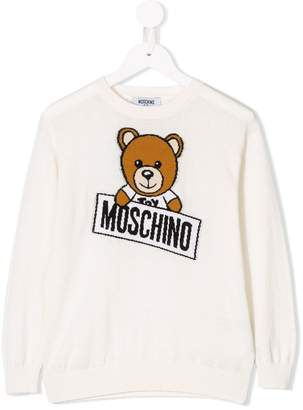 Moschino Kids Teddy logo intarsia knitted jumper