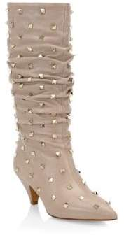 Valentino Ruched Leather Rockstud Boots