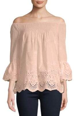 Lumie Embroidered Off-The-Shoulder Cotton Top