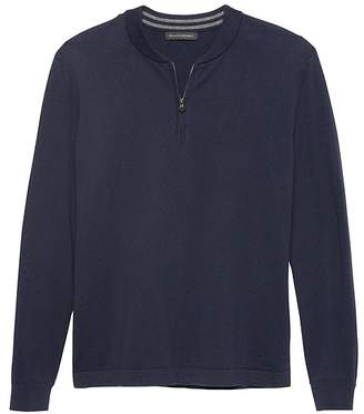 Banana Republic Cotton Cashmere Half-Zip Bomber Sweater