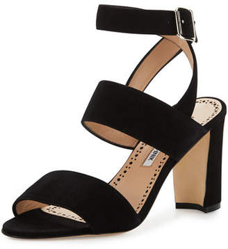 Manolo Blahnik Khanstrap Suede Chunky-Heel Sandal $765 thestylecure.com