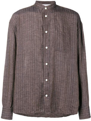 Eleventy striped mandarin collar shirt