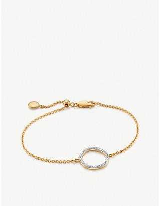 Monica Vinader Riva Circle 18ct yellow-gold vermeil pavé diamond bracelet