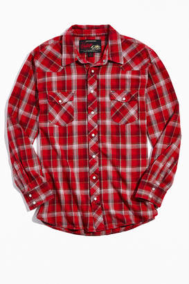 Urban Outfitters Vintage Vintage Red And White Plaid Western Flannel Button-Down Shirt