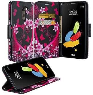 LG Electronics K10, Premier LTE Case - Wydan Wallet Leather Credit Card Flip Book Style Folio Kicktand Feature Cover w/ Wrist Strap Heart Flower - Black Pink