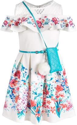 Beautees Big Girls Floral-Print Cold-Shoulder Dress