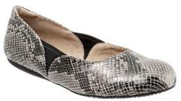 SoftWalk Norwich Snake Print Leather Ballet Flats