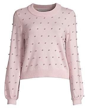 Milly Women's Faux-Pearl Wool Sweater
