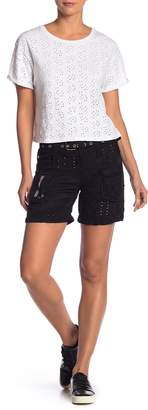 Johnny Was Eyelet Lace Solid Shorts