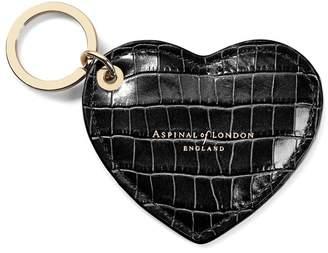 Aspinal of London Heart Keyring In Deep Shine Black Small Croc