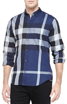 Burberry Fred Exploded Check Button-Down Shirt, Ink $295 thestylecure.com