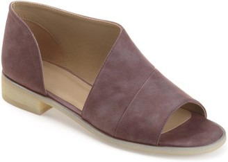 Brinley Co. Women's Faux Leather D'orsay Asymmetrical Open-toe Flats