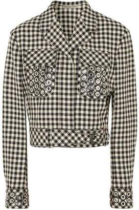 Bottega Veneta Embellished Gingham Cotton And Wool-Blend Jacket