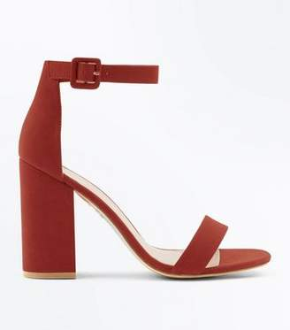 New Look Rust Suedette Barely There Block Heels