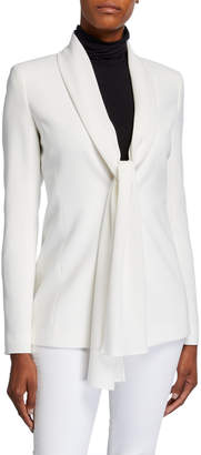 Lafayette 148 New York Kendria Crepe Jacket with Georgette Tie Combo