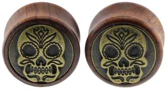 Oasis Plus Brass Sugar Skull Organic Wood Tunnels Double Flared Ear Stretcher Saddle Plugs Gauge 18mm
