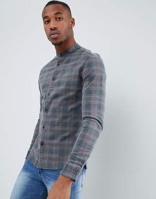 Asos DESIGN skinny fit denim check shirt with grandad collar