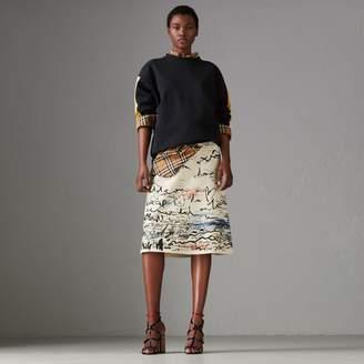 Burberry Coastal Print Cotton Linen A-line Skirt , Size: 10