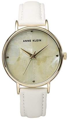 Anne Klein Women's AK/2790CMWT Gold-Tone and White Leather Strap Watch