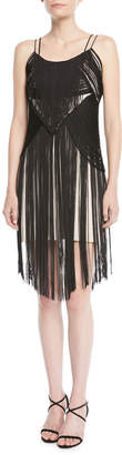 Haute Hippie Lawless Spaghetti-Strap Fringe Dress