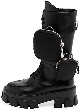 Prada Women's Lug-Sole Leather Combat Boots