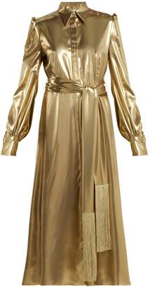 HILLIER BARTLEY Belted metallic silk-satin dress